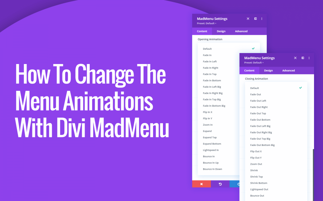 How To Change The Desktop And Mobile Menu Animations with Divi MadMenu